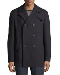 Emporio Armani Wool Double Breasted Pea Coat Blue