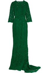 Dolce And Gabbana Crystal Embellished Corded Lace Gown Emerald