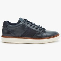 John Lewis Stamford Cupsole Leather Trainers Navy