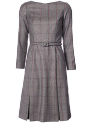 Carolina Herrera Tartan Structured Skater Dress Women Silk Wool 4 Grey