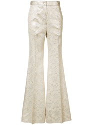 Rochas Tailored Palazzo Pants Women Silk Polyester 40 Nude Neutrals