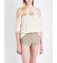 Free People Fast Times Embroidered Cold Shoulder Cotton Jersey Top Neutral