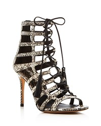 Michael Kors Bardot Snakeskin Caged Lace Up High Heel Sandals Natural