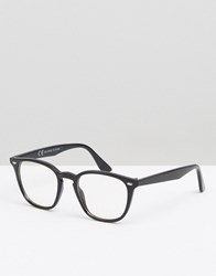 Asos Square Lens Geeky Clear Lens Glasses Black