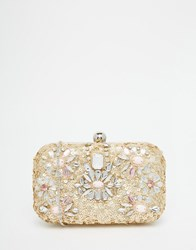 Glamorous Sequin Embellished Box Clutch Bag Black Gold Multi