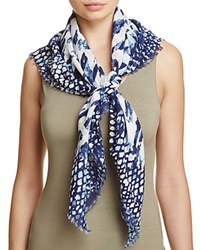 Fraas Multi Animal Square Scarf Navy
