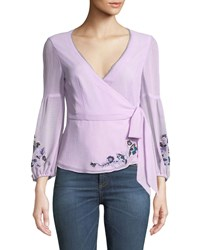 Nanette Lepore Balance Embroidered Wrap Top Lilac