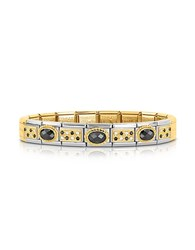 Nomination Classic Pav S Golden Stainless Steel Bracelet W Black Stone And Cubic Zirconia Silver