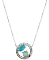 Judith Jack Sterling Silver Mixed Stone Circle Pendant Necklace