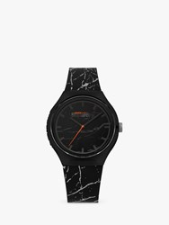 Superdry Syg253be Unisex Urban Marble Silicone Strap Watch Black