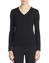 Lord And Taylor Merino Wool Basic V Neck Sweater Black