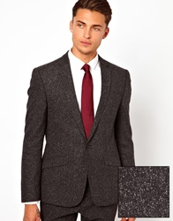 Asos Skinny Fit Suit Jacket In Fleck Charcoal