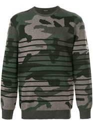 Loveless Camouflage Striped Sweater Multicolour