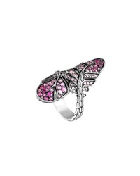 John Hardy Silver Feather Lava Sapphire Gradient Bypass Ring Pink