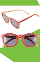 Proof 'Hayburn' 50Mm Polarized Wood Sunglasses Red Bamboo Grey