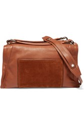 Sandro Textured Leather And Suede Shoulder Bag Brown