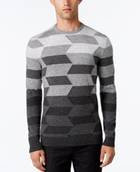 Alfani Collection Men's Ombre Chevron Sweater Classic Fit Heather Charcoal
