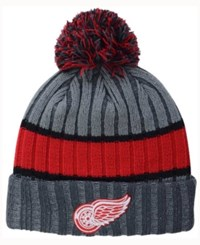New Era Detroit Red Wings Stripe Chiller Pom Knit Hat Gray Red Black