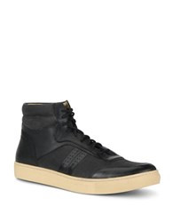 Andrew Marc New York Concord Lace Up Sneakers Black Cream