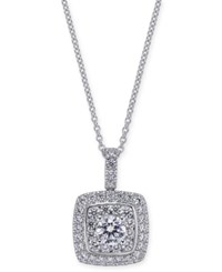 Macy's Diamond Square Pendant Necklace 1 1 4 Ct. T.W. In 14K White Gold