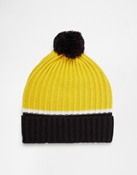 Asos Colour Block Bobble Beanie Navy