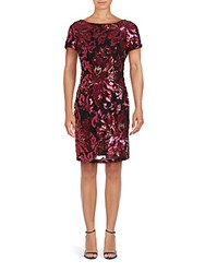 Alexia Admor Floral Sequined Sheath Dress Fuchsia