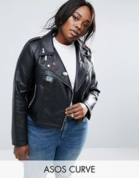 Asos Curve Ultimate Leather Look Biker Jacket With Pin Badge Detail Black