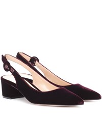 Gianvito Rossi Exclusive To Mytheresa.Com Amee Velvet Slingback Pumps Red