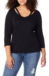 Rebel Wilson X Angels Plus Size Slash Neck Tee Black