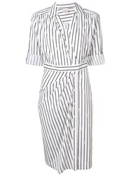 Pinko Striped Shirt Dress White