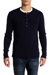 Rogue Thermal Long Sleeve Henley Tee Blue