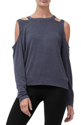 Good American Plus Size Cold Shoulder Tee Charcoal001