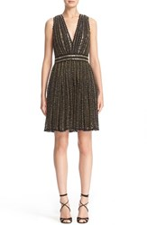Badgley Mischka Couture. Women's Couture Beaded Sleeveless Crochet Lace Dress