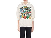 Madeworn Women's Band Graphic Cotton Blend Fleece Hoodie Ivory White