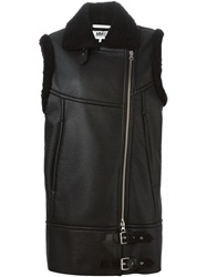 Mm6 Maison Margiela Artificial Shearling Biker Jacket Black