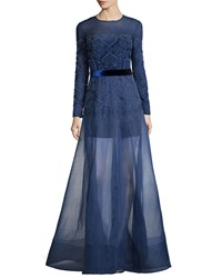 Jenny Packham Long Sleeve Embellished Gown W Organza Overlay Skirt Nightfall