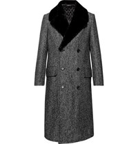 Dunhill Double Breasted Shearling Trimmed Herringbone Wool Blend Coat Black