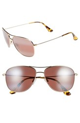 Women's Maui Jim 'Cliff House Polarizedplus' 59Mm Metal Aviator Sunglasses Gold Maui Rose