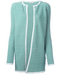 P.A.R.O.S.H. Striped Open Front Cardigan White