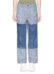 Denham Jeans 'Bonnie' Patchwork Linen Cotton Pants Blue