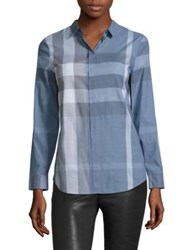 Burberry Explode Checked Shirt Canvas Blue