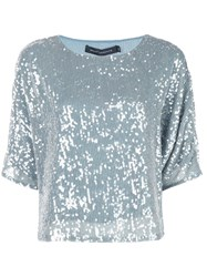Sally Lapointe Sequin Embroidered Top Blue