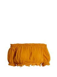 Apiece Apart Oeste Off The Shoulder Silk Cropped Top Yellow
