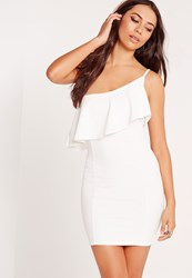 Missguided One Shoulder Frill Detail Bodycon Dress White White
