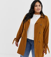 Junarose Tie Waist Mac Jacket Tan