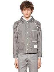 Thom Browne Hooded Zip Up Nylon Jacket