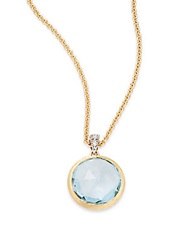 Marco Bicego Delicati Diamond Blue Topaz And 18K Yellow Gold Pendant Necklace Gold Blue