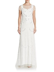 Adrianna Papell Embellished Illusion Neckline Gown Ivory