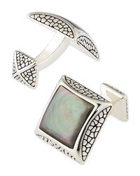 Pebbled Silver Cuff Links With Mother Of Pearl Stephen Webster White
