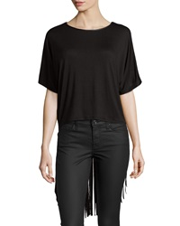 Romeo And Juliet Couture Faux Leather Trim Fringe Tee Black